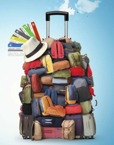 suitcase overflowing with belongings