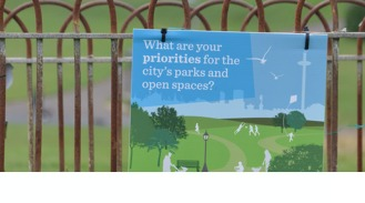 poster on park railing advertising consultation