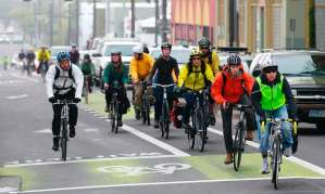 group of cyclists in Lndon