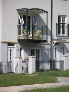 Two storey housing with balcony