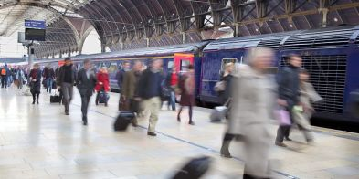 Blurred images of people in major station