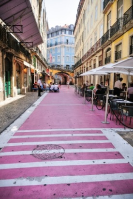 image of pink paved street