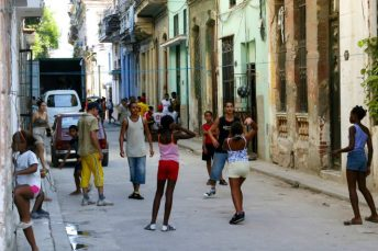 Cuban children playing in street in Havana