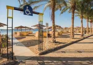 sandy beach with paved level access